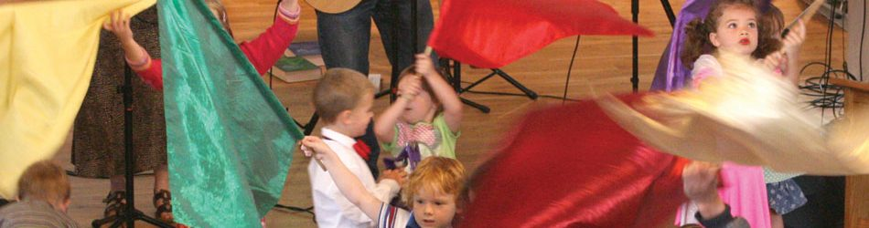 Children flag waving