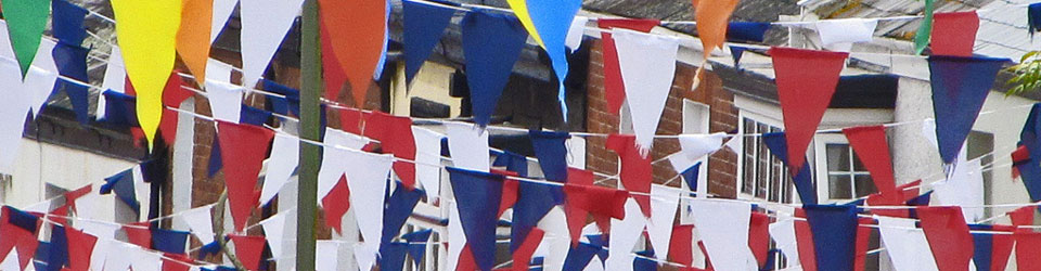 Bunting strung from houses across the street for a party