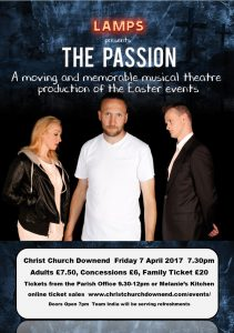The Lamps theatre company poster for The Passion musical production.