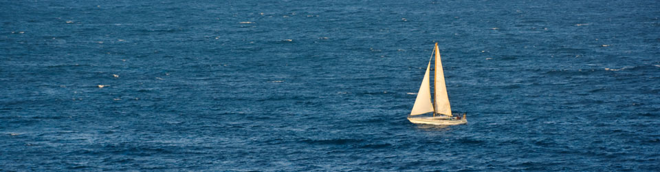 The sea with a sailing boat in the distance