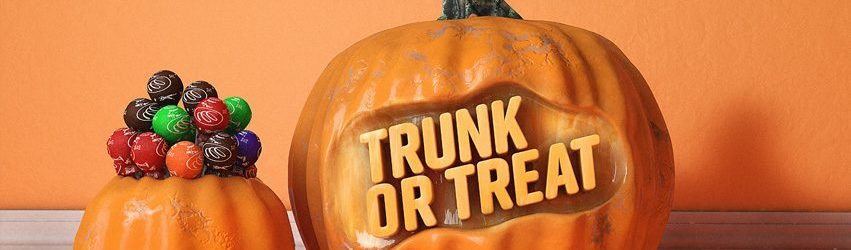 Trunk or treat carved in to a pumkin