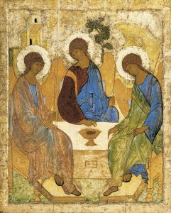 Rublev's famous icon showing the three Angels being hosted by Abraham at Mambré.