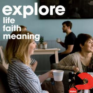 Alpha small banner: explore, life, faith, meaning