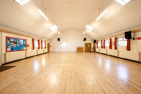 The interior view of the parish hall at Christ Church Downend