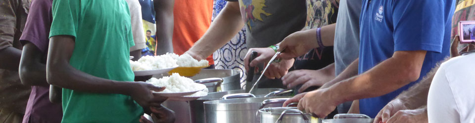 Rice being served in St Stephens Compassion Project, Uganda